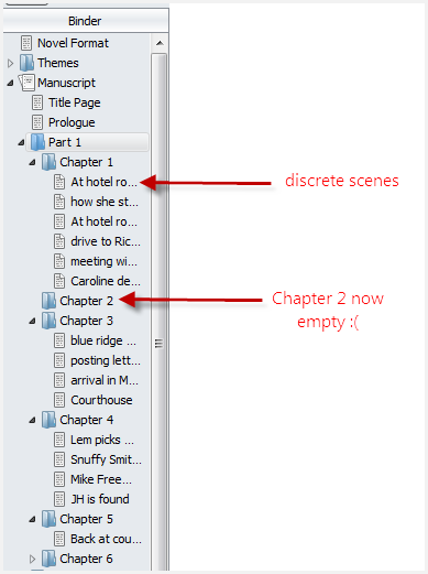 Manuscript in the scrivener binder